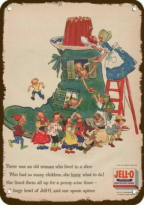 1955 JELLO JELL-O Vintage Look Replica Metal Sign - OLD WOMAN LIVES IN A SHOE