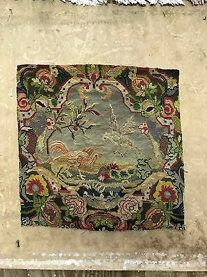 Antique Edwardian Tapestry Size:50x52 Cm Fragments