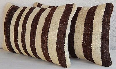 12'' X 20'' African Mudcloth Kilim Pillow Cover Set of Two Mud Cloth Cushions
