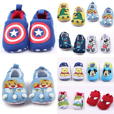 Baby Boys Girls Crib Shoes Infant Cartoon Soft Sole Slippers Prewalker Trainers
