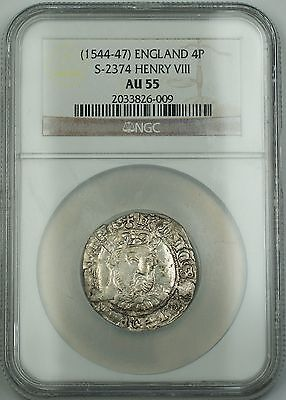 NGC AU 55 Henry VIII (1544-47) England Silver Groat 4P Coin S-2374