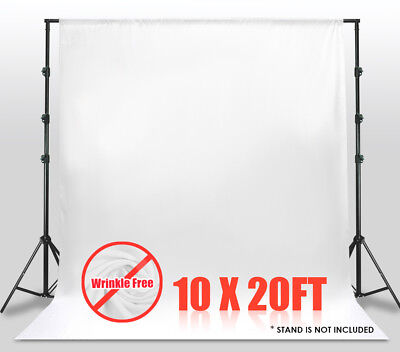 10' x 20' White Muslin Backdrop Photo Studio Photography Background Winkle Free