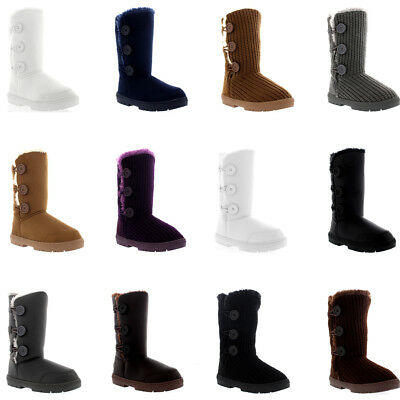 Womens 3 Button Classic Rain Snow Fur Lined Shoes Winter Cosy Warm Boots UK 3-10