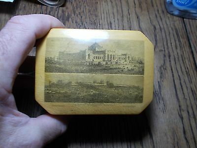 Antique Mauchline Ware Clark's Cotton Reel Box Fairmount Philadelphia 1876