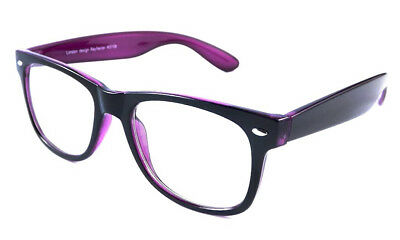Black Purple Two Tone Geek Nerd Clear Lens Glasses Classic Style VTG