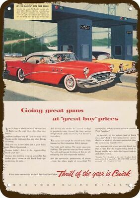 1955 BUICK RED CAR Vintage Look Replica Metal Sign -TOLL BOOTH -GOING GREAT GUNS