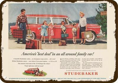 1955 STUDEBAKER RED STATION WAGON CAR Vintage Look Replica Metal Sign
