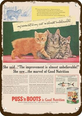 1955 PUSS N' BOOTS CAT FOOD Vintage Look Replica Metal Sign - MAMA CAT & KITTENS