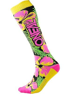 Oneal Pink-Green-Yellow 2018 Pro Island MX Socks