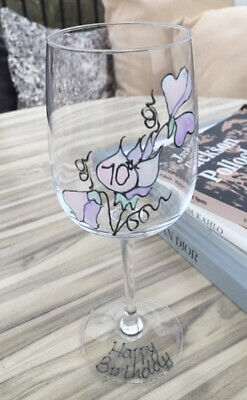 70th Birthday Sweet Pea Gift Wine Glass