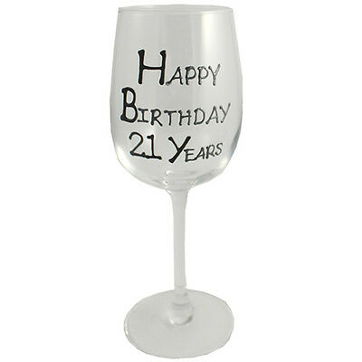 21st Birthday Gift Wine Glass Black/Silver