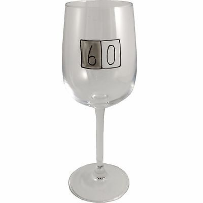 60th Birthday Gift Wine Glass (Grey Sq)