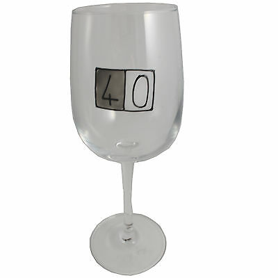 40th Birthday Wine Glass (Grey Sq)