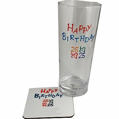 25th Birthday Pint Glass and Coaster Gift Set (Brights)