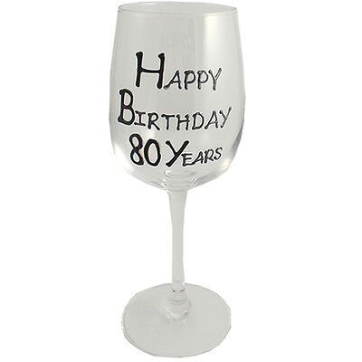 80th Birthday Gift Wine Glass Black/Silver