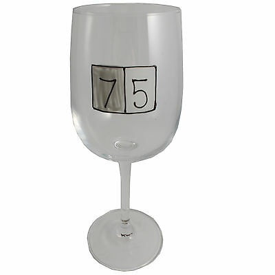 75th Birthday Gift Grey Sq Wine Glass