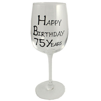 75th Birthday Gift Wine Glass Black/Silver