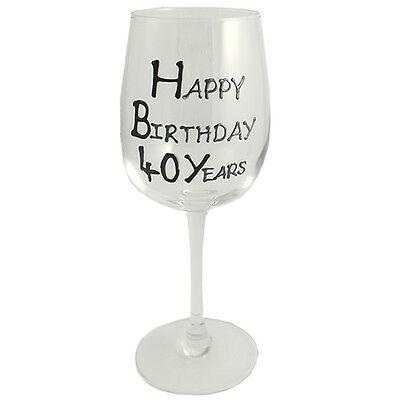 40th Birthday Gift Wine Glass Black/Silver
