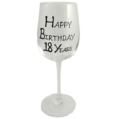 18th Birthday Gift Wine Glass Black/Silver