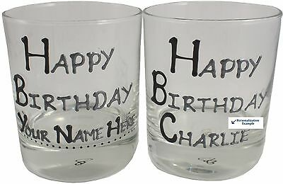 """Happy Birthday """"Your Name Here"""" Gift Whisky Glass Black/Silver"""