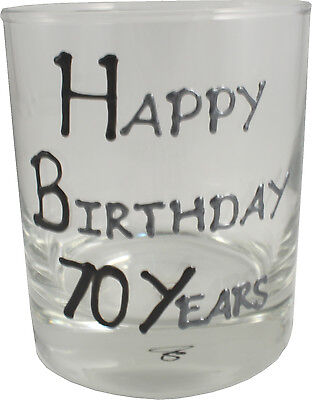 70th Birthday Gift Whisky Glass Black/Silver