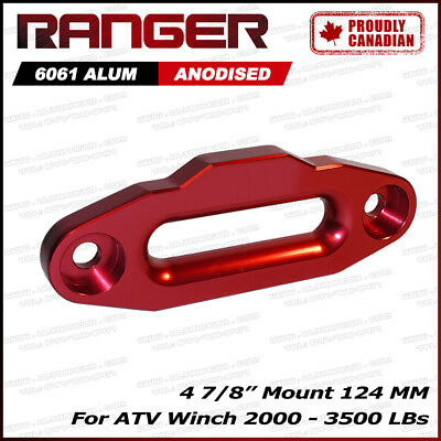 "Ranger Aluminum Hawse Fairlead For 2000-3500 ATV Winch 4 7/8"" (124MM) Mount Red"