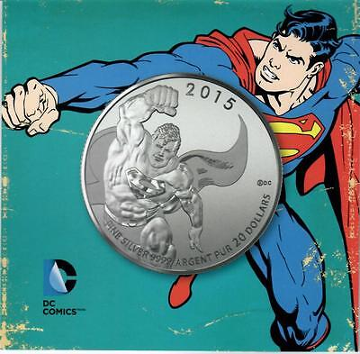 2015 Canada $20. Silver coin Superman UNC. with a Certificate.