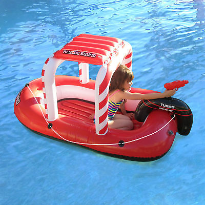 Pool Float Rescue Squad | Inflatable Boat w/ Squirter Water Gun | Blue Wave
