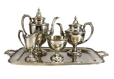 Manchester Sterling Silver 5 Piece Tea & Coffee Service, 20th C., Gadroon Rimmed