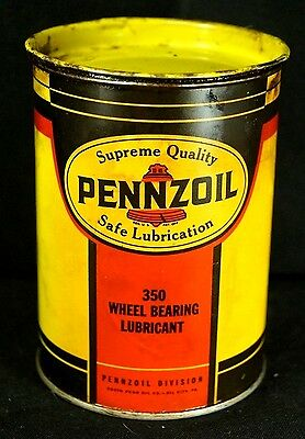 Vintage 1940s Pennzoil Wheel Bearing Lubricant 1Lb Advertising Can Tin Canco