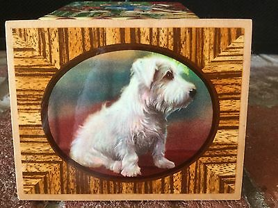 Vintage 1940's Or 50's Small Wood Terrier? Dog Hanging Plaque White Dog EUC