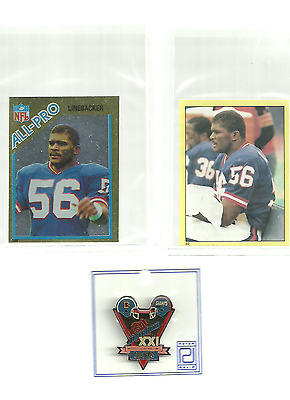 NEW  - 3 - NEW YORK GIANTS SB XX  PIN +  2  LAWRENCE TAYLOR  stickers  ALL PRO