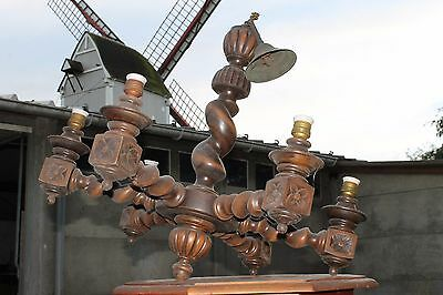 Antique Barley Twist Wooden Chandelier carved Wood 6 arm lamp FRENCH