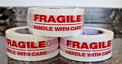 "5 Rolls Fragile Handle with Care 2"" x 55 Yds Security Sealing Tape 2in x 55yards"