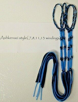 Tzitzit,Tassles, Braided loop, Sky Blue / Black Judaica/Messianic Fringes