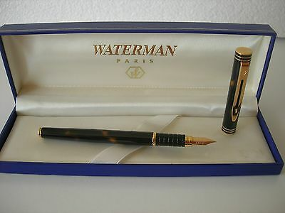 Waterman Exclusive Fountain Marble Brown Cognac Laque Gold F  IDEAL 18Kl 750