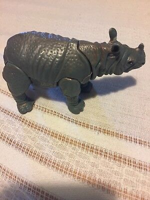 "Rhinoceros Rhino Figurine Plastic Grey Poseable 2 1/2""  CRACKED NO TAIL"