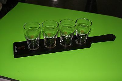 Guinness Flight Sampler Tray with 4 6oz Glasses, Guinness Man Cave Collectible