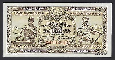 UNC 1946 Yugoslavia 100 Dinara P-65b Security Thread KM042648, #009