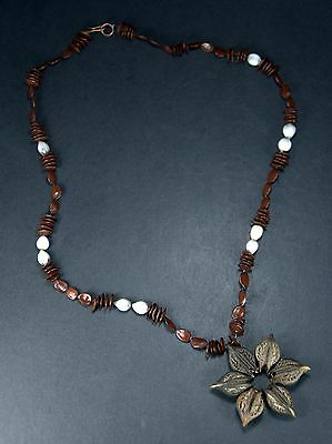 Vintage Handmade Koa & Job's Tears Coix Seeds Lei Necklace Hawaii Hawaiian Hula