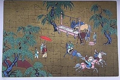 Vintage Silk Japanese Watercolor Painting - Equestrian Theme