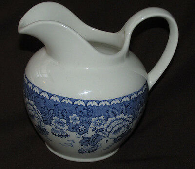 Crabtree & Evelyn Mason's Ironstone Blue White Pottery Jug Florals London 12CmT