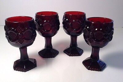 Avon Cape Cod Ruby Red CORDIAL GLASSES Set of 4