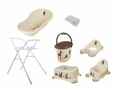 7ER Set Forest Beige Bathtub 84 cm + Stand + Pot + WC +Stool +BUCKET + WHS