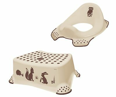 Set of Two Forest BEIGE TOILET SEAT + Stool Toilet Trainer