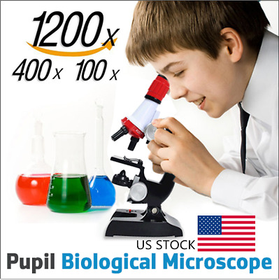 US Kid Educational Microscope Kit Lab LED 100X-1200X Home School Educational Toy