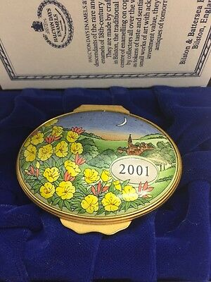 Halcyon Days Enamels Oval Box Year To Remember 2001