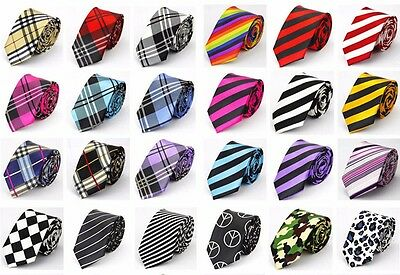 Men's Skinny Tie In Different Stripe and Plaid Styles