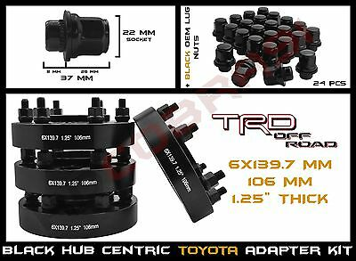 "4 Toyota 6x5.5"" 1.25"" Black Hub Centric Wheel Spacers + 24pc Black Mag Lug Nuts"