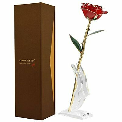 Red Gold Rose DEFAITH 24K Gold Trimmed Long Stem Real Rose with Moon-shape Ro...